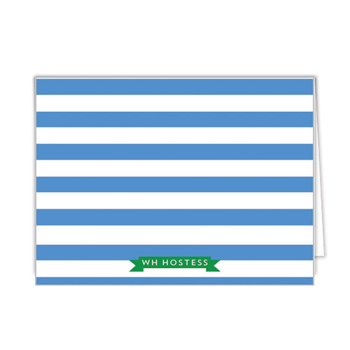 Rugby Stripe Monogram Personalized Folded Notecard - More Colors