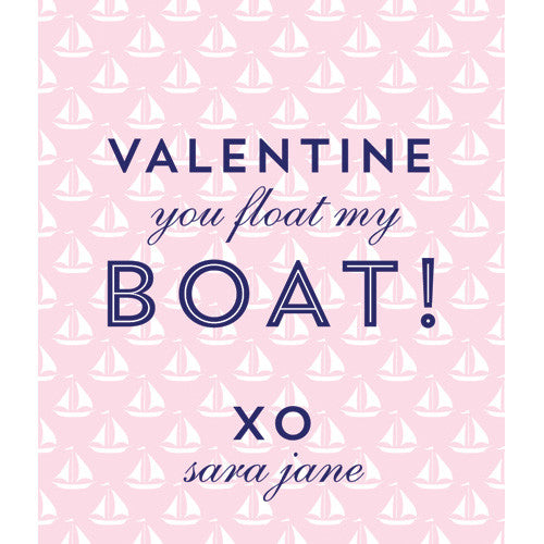 Preppy Pink Sailboat Valentines for Kids