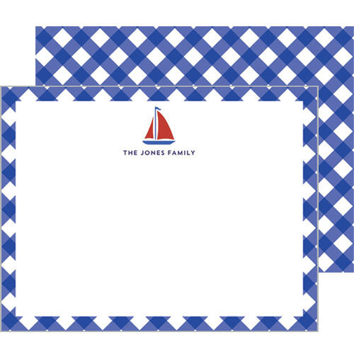 Sailboat Gingham Personalized Flat Notecards