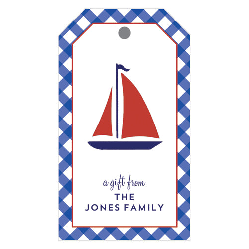 Sailboat Gingham Personalized Gift Tags