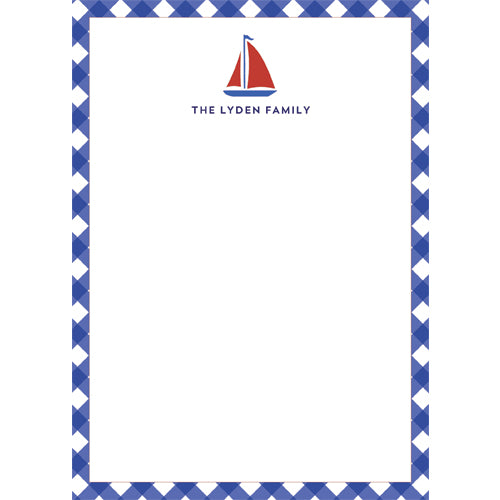 Sailboat Gingham Personalized Notepad