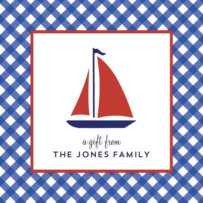 Sailboat Gingham Gift Sticker | Set of 24