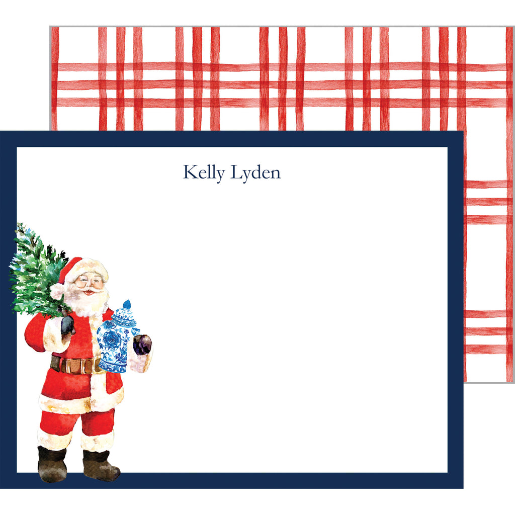 Santa Claus with Ginger Jar Personalized Flat Notecard