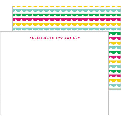 Scallop Banner Personalized Flat Notecards - More Color Options