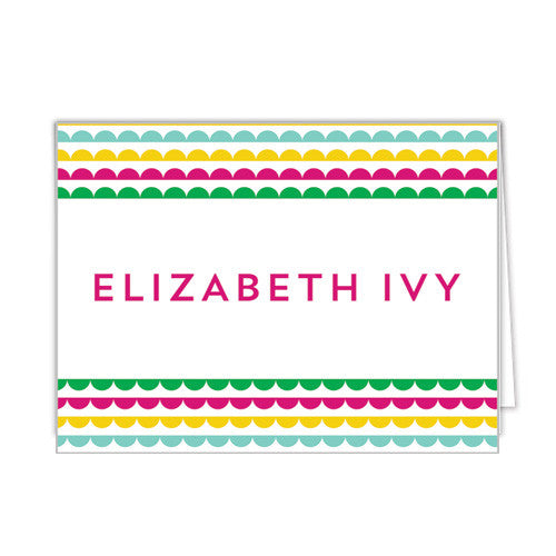 Scallop Banner Personalized Folded Notecards - More Colors