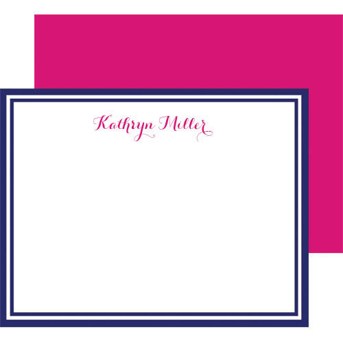Script Letters Personalized Flat Card - More Color Options