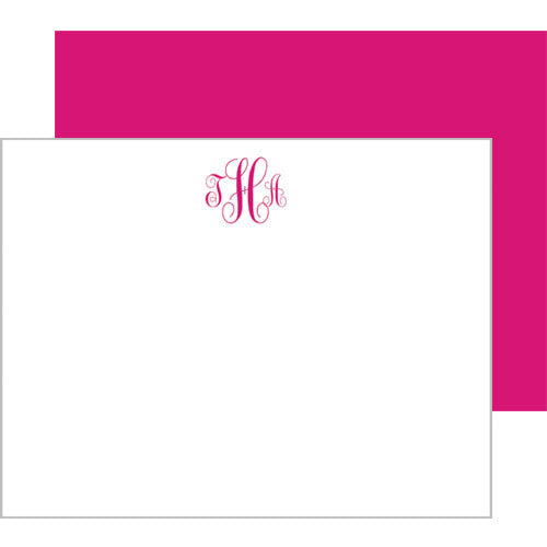 Script Monogram Personalized Flat Notecards - More Color Options