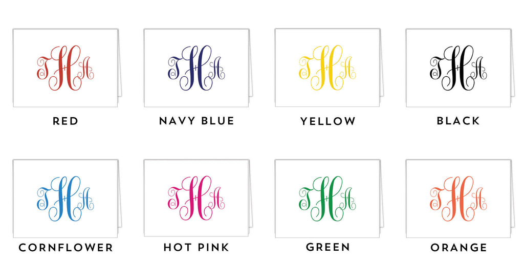 Script Monogram Personalized Folded Notecard- More Color Options