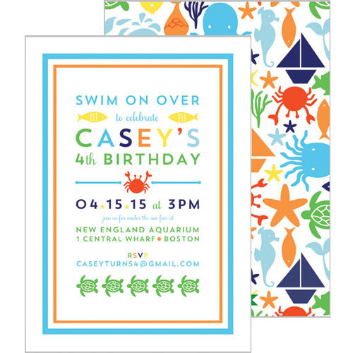 Sea Creatures Double-Sided Party Invitation