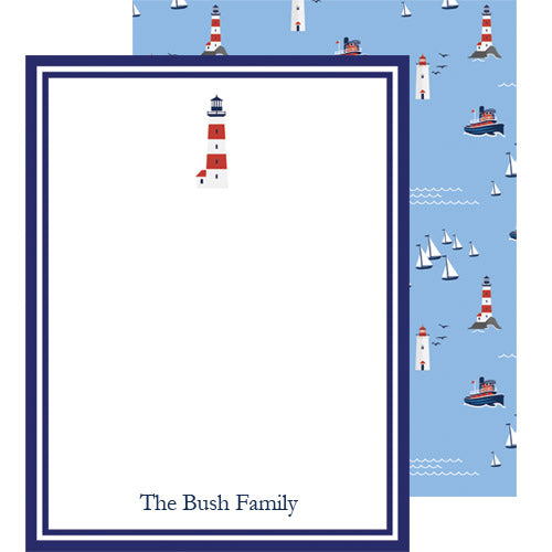 Seaside Nautical Lighthouse Personalized Flat Notecards