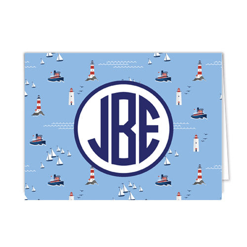 Nautical Seaside Monogram Personalized Folded Notecards
