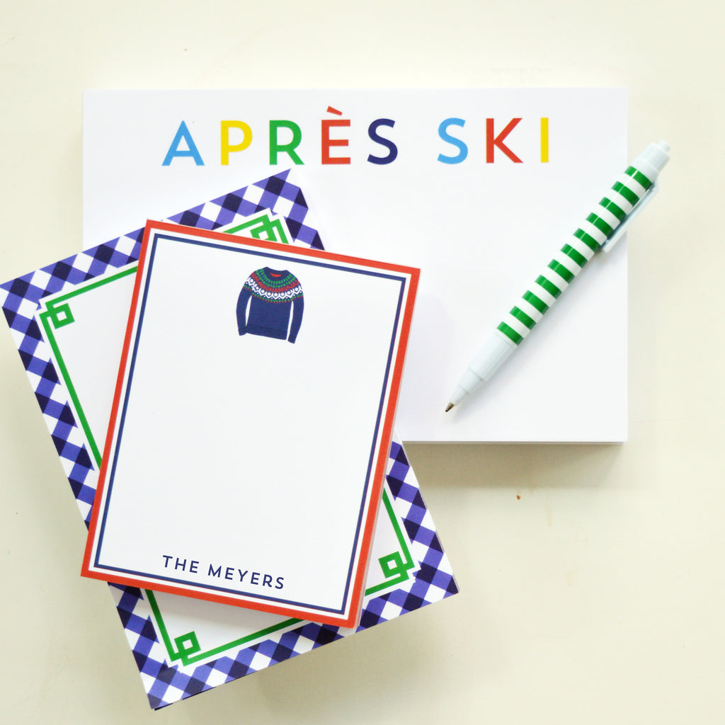 Ski Sweater Personalized Notepad