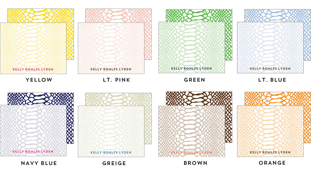 Snakeskin Flat Notecards - More Colors