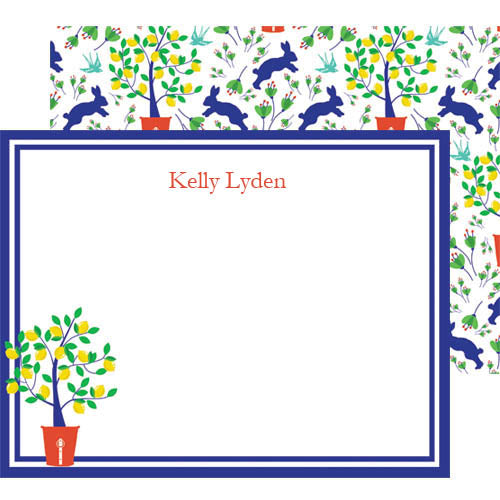 Spring Toile Personalized Flat Notecards