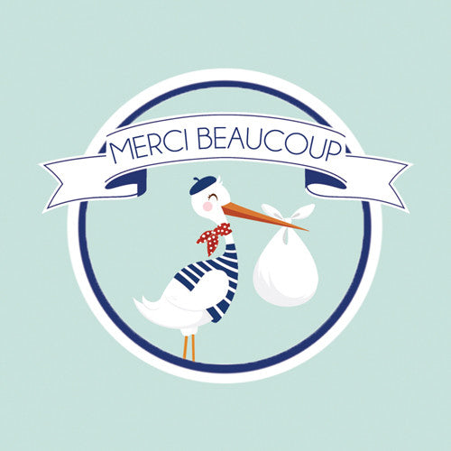 2.5 inch Square French Stork Stickers