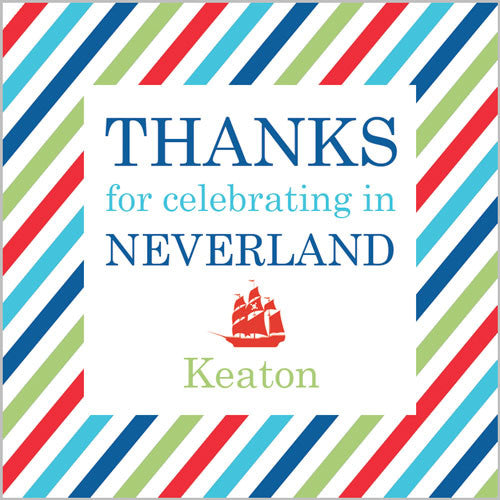 2.5 inch Square Neverland Stripe Sticker