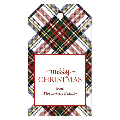 White Stewart Plaid Christmas Gift Tags