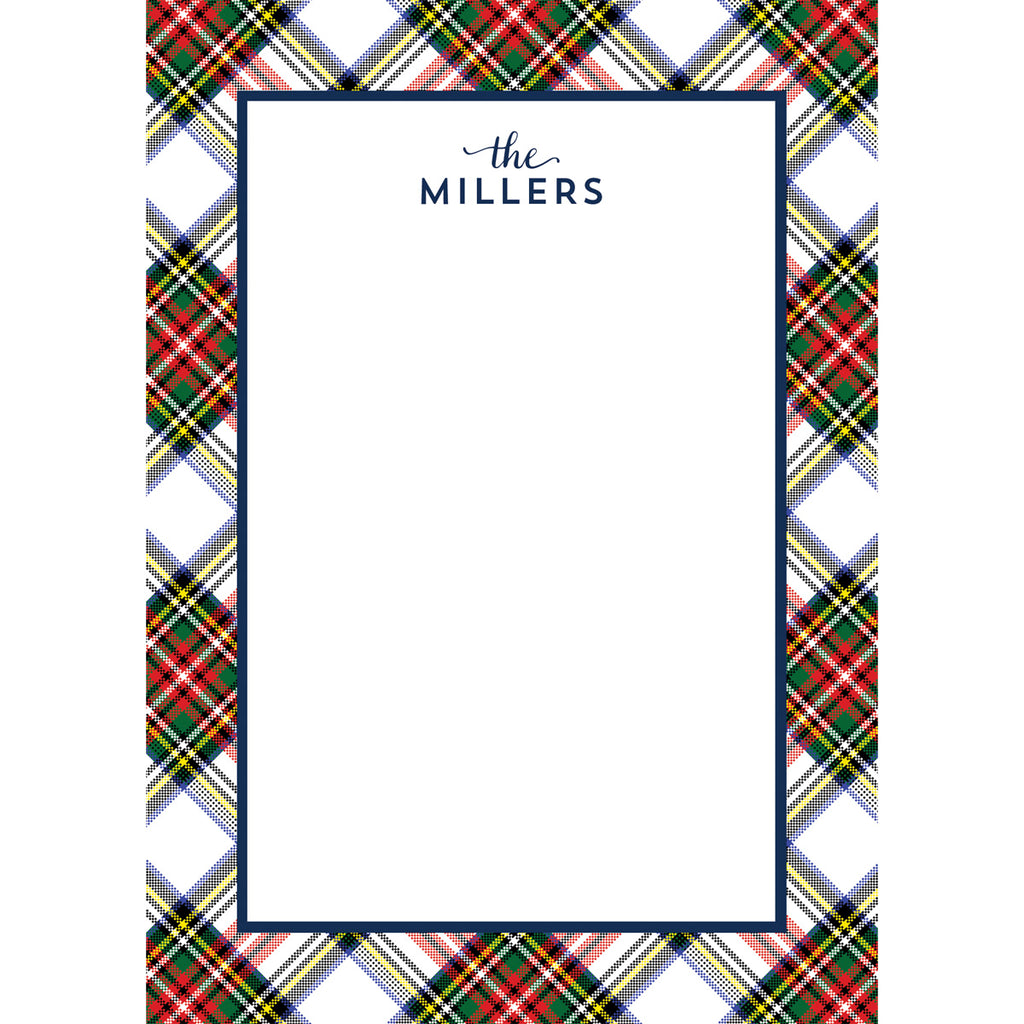 White Stewart Plaid Personalized Notepad