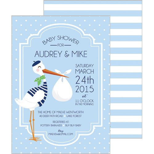 Stork Baby Shower Invitation - Blue