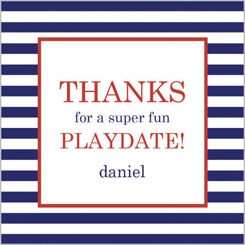 Navy Blue Stripe Gift Sticker - Set of 24