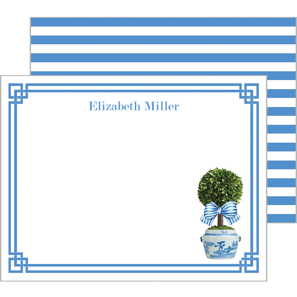 Spring Topiary with Striped Bow Personalized Flat Notecards
