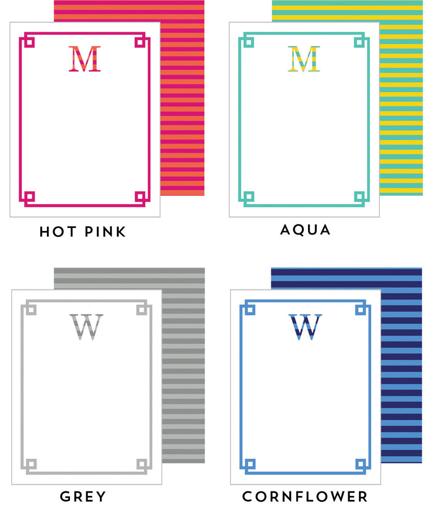 Striped Letters Personalized Flat Notecard - More Color Options