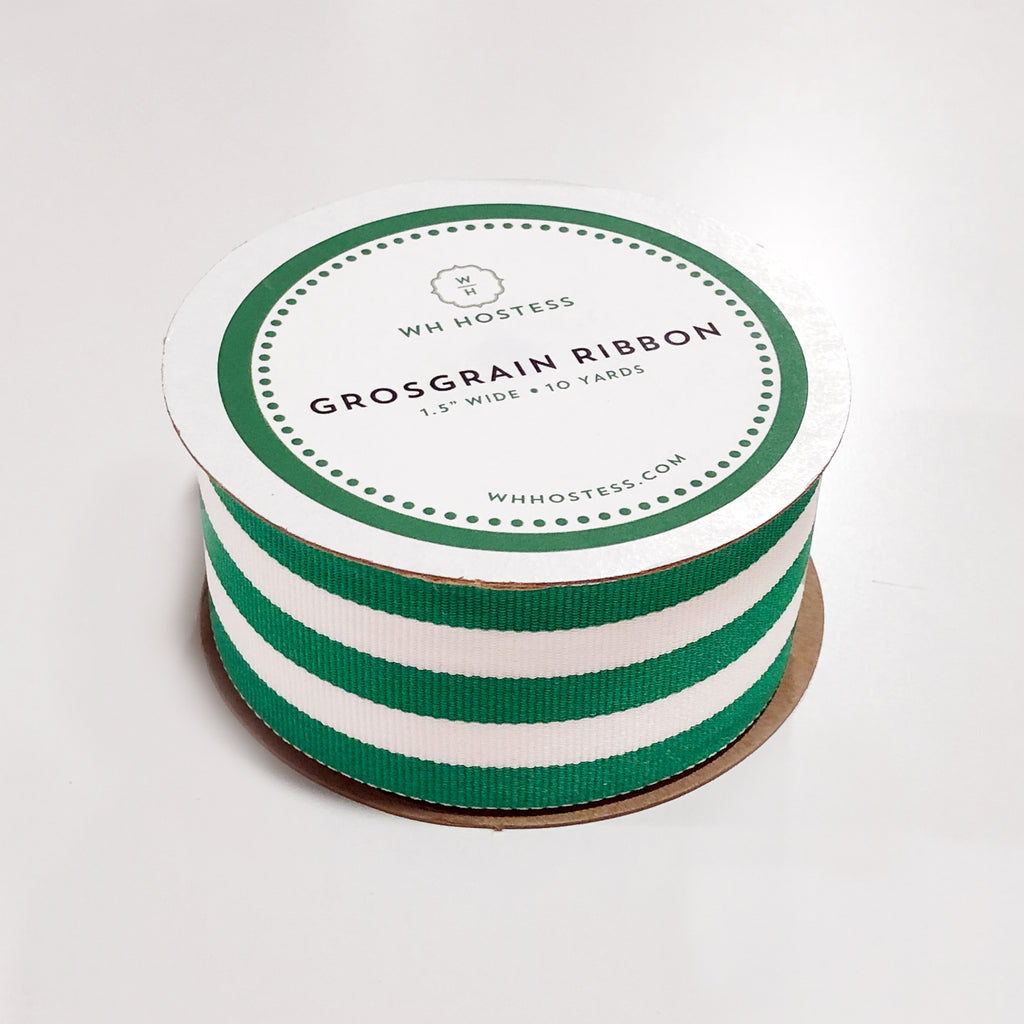 Preppy Striped Grosgrain Ribbon | Green