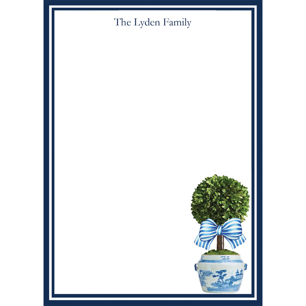 Striped Topiary Tree Personalized Notepad