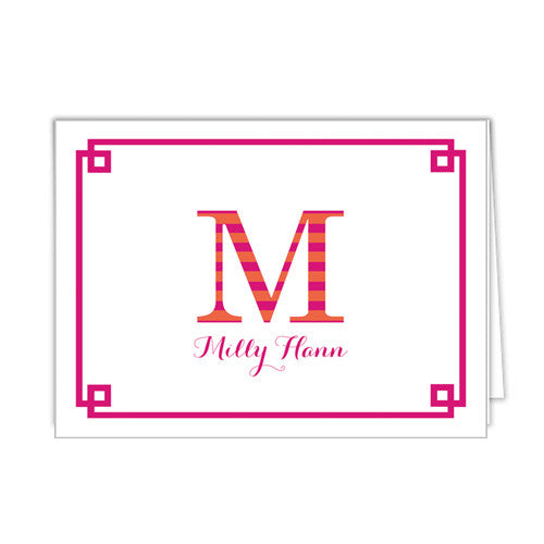 Striped Letters Personalized Folded Notecard- More Color Options