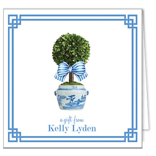 Spring Topiary Tree with Blue Striped Bow Personalized Enclosure Cards + Envelopes