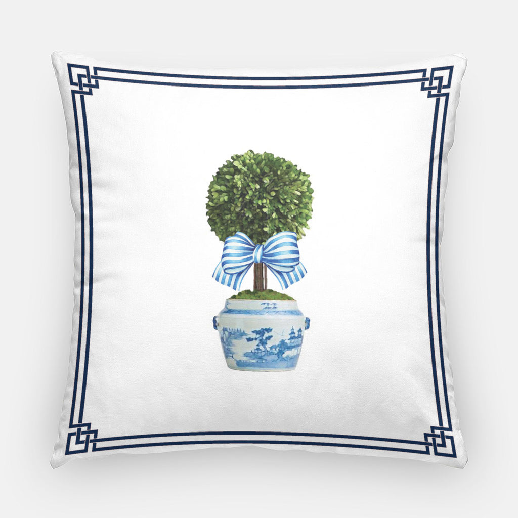Cotton Throw Pillow Case | Spring Topiary Tree with Striped Bow