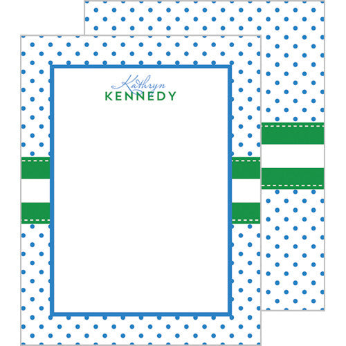 Swiss Dot Personalized Flat Notecards - More Color Options