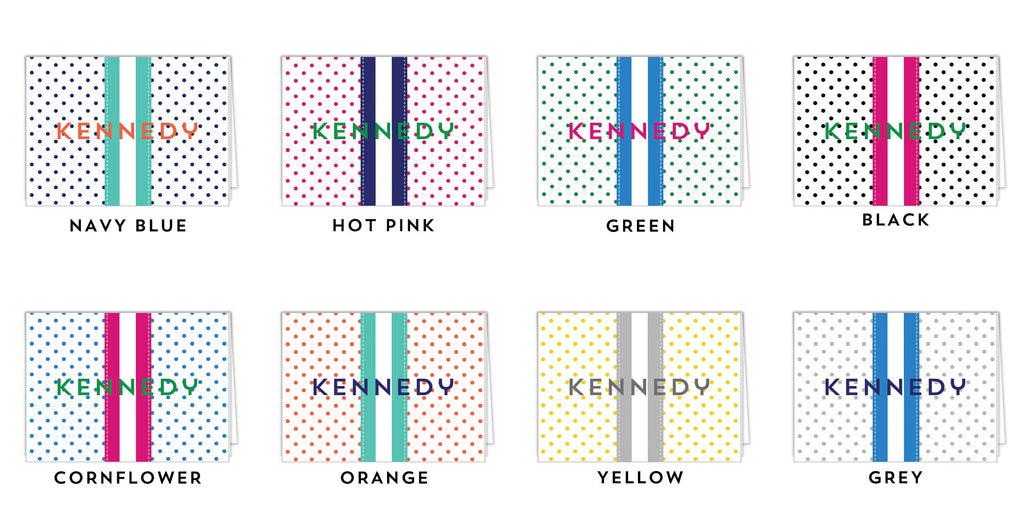 Swiss Dot Personalized Folded Notecards - More Colors