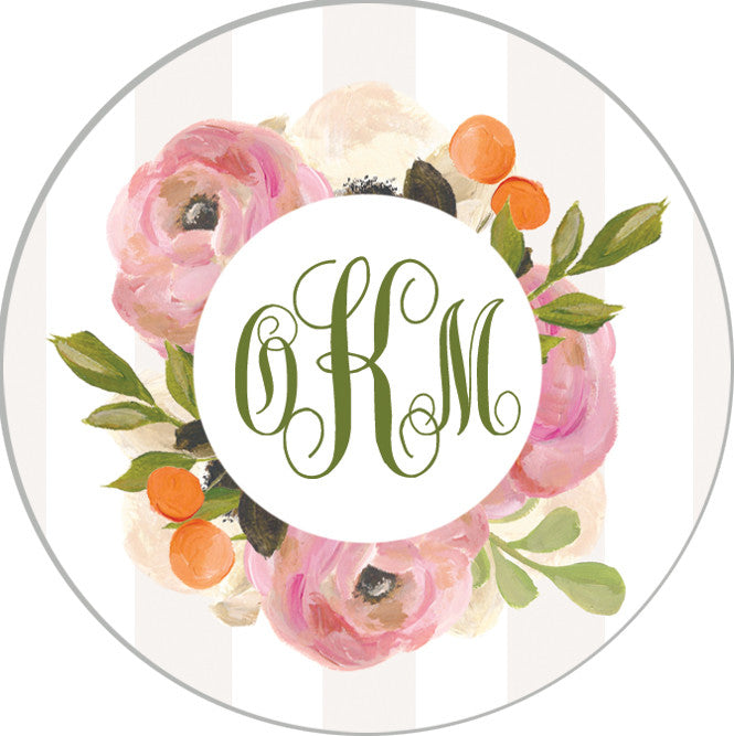 "2"" Round Tan Watercolor Floral Monogram Stickers 