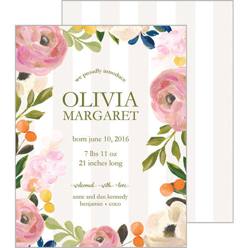 Tan Watercolor Floral A2 Birth Announcement Card
