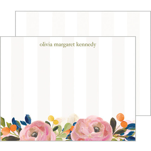 Tan Watercolor Floral Personalized Flat Notecards