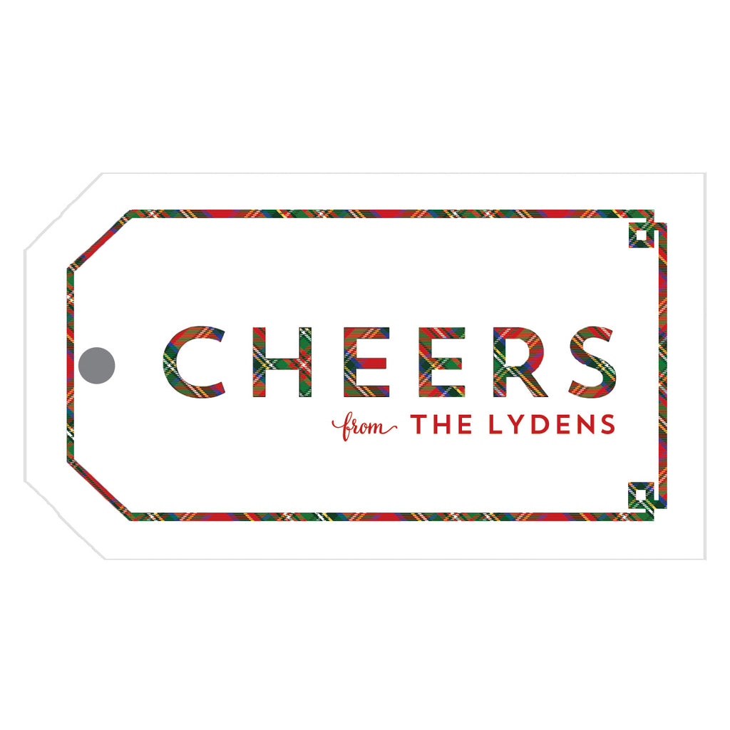 Cheers Tartan Plaid Fretwork Personalized Christmas Gift Tags