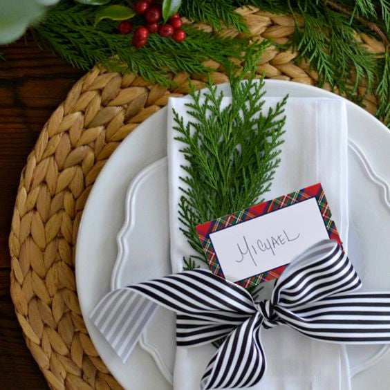 Red Tartan Plaid Foldover Place Cards | Set of 10