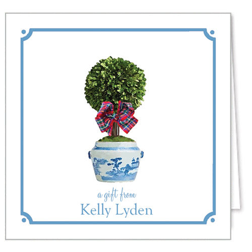 Tartan Topiary Tree Personalized Enclosure Cards + Envelopes