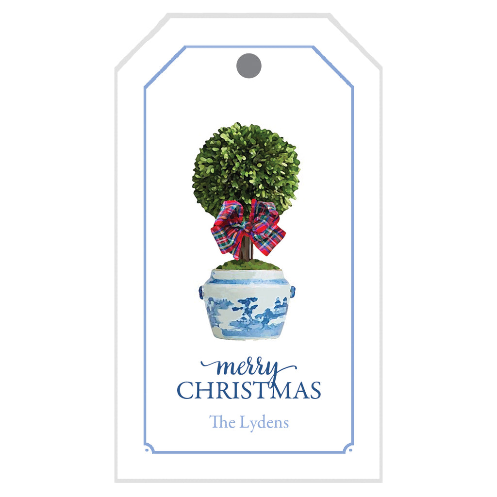 Tartan Topiary Personalized Christmas Gift Tags