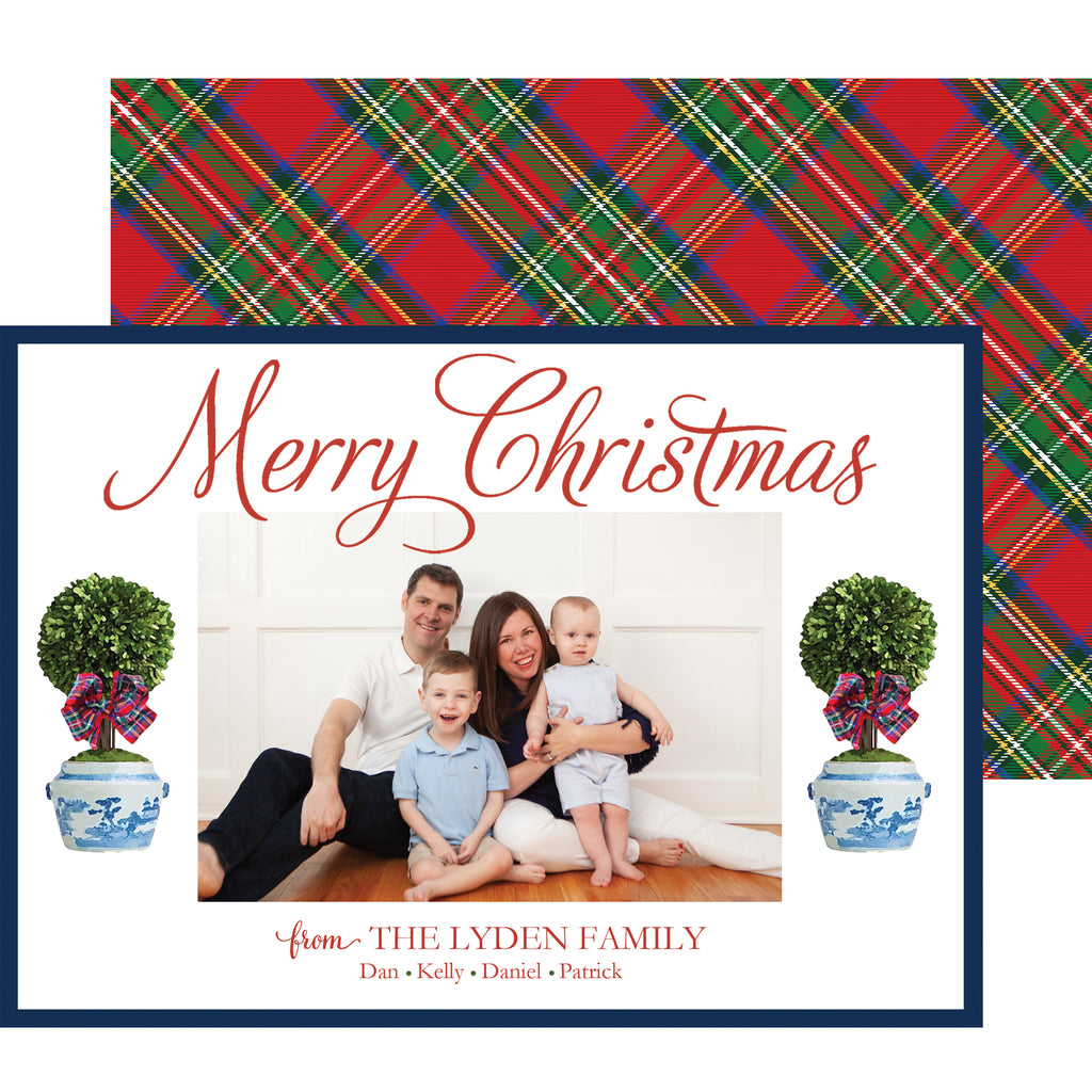 Tartan Christmas Topiary Tree Holiday Photo Card