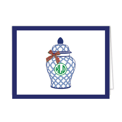 Blue and White Ginger Jar with Tartan Plaid Bow Monogrammed Folded Notecards