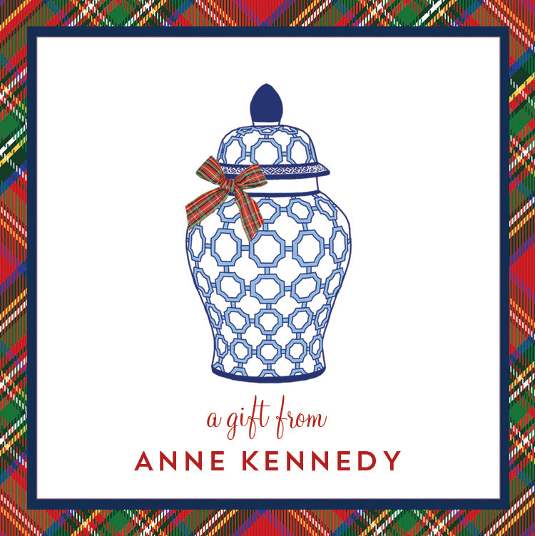 Blue and White Ginger Jar with Tartan Plaid Bow Christmas Gift Stickers | Set of 24