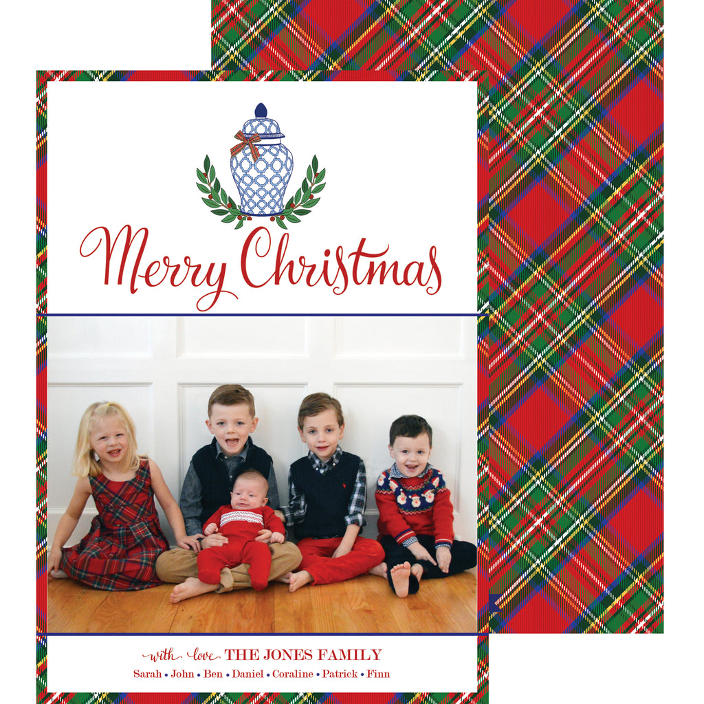 Blue and White Ginger Jar and Red Tartan Plaid Holiday Photo Card