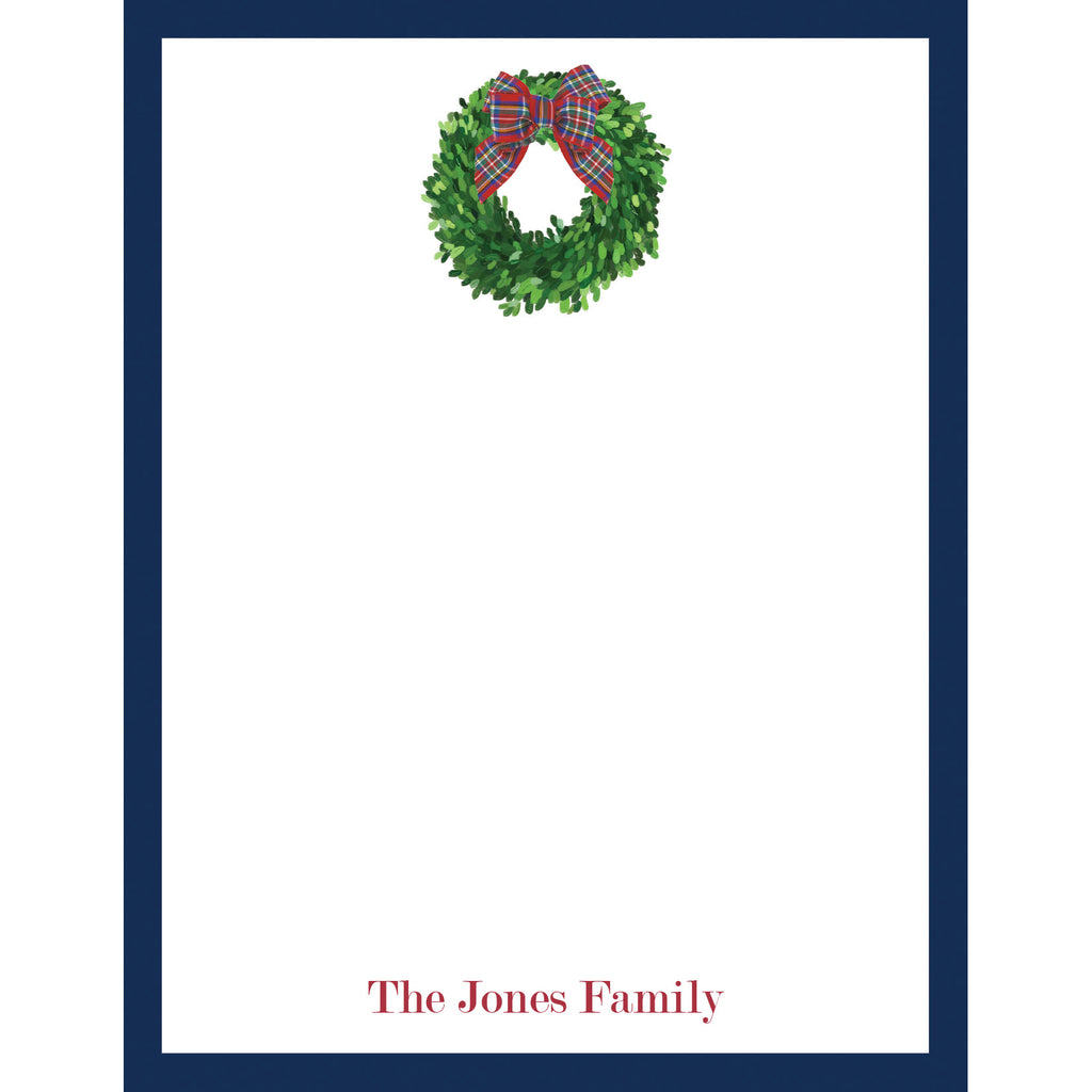 Christmas Wreath with Tartan Bow Personalized Notepad