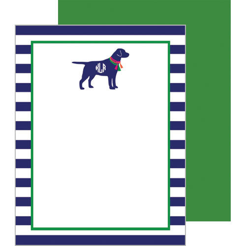 Monogram Dog with Tassels Flat Notecards