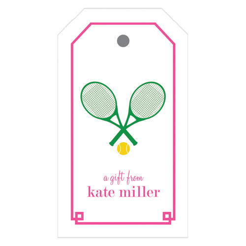 Tennis Racquet Personalized Gift Tags