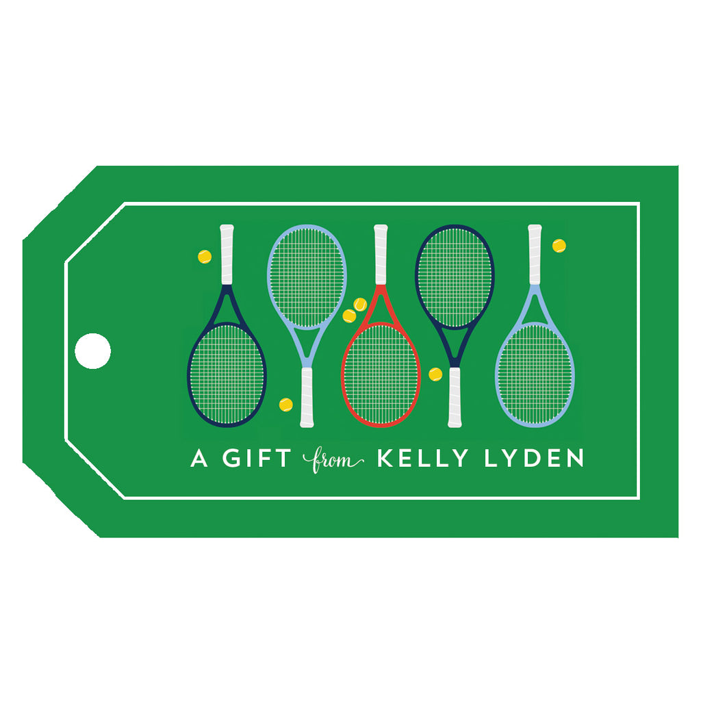 Tennis Racquets Personalized Gift Tags