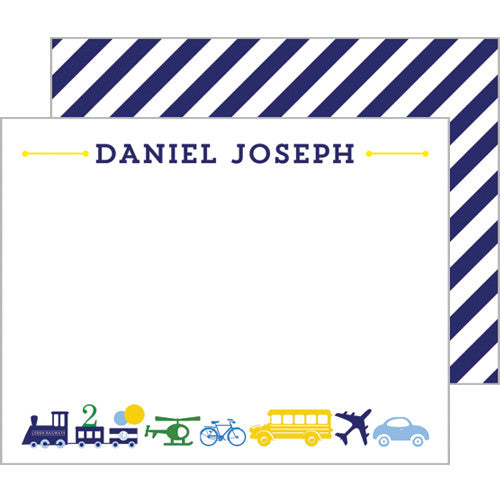 Things That Go Transportation Personalized Flat Notecards