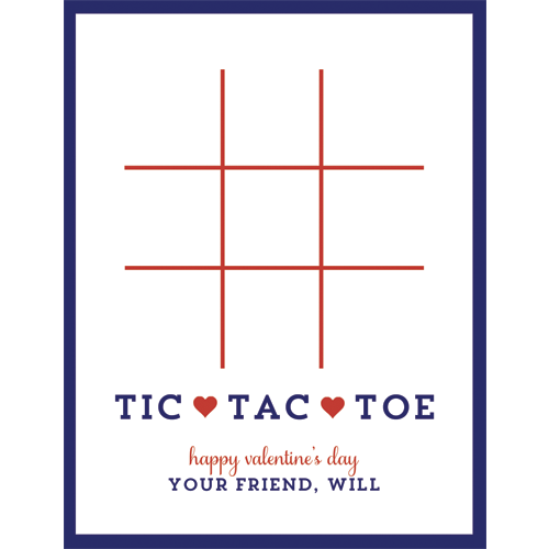 Tic Tac Toe Valentines for Kids